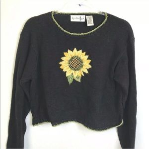 Vintage 90's Sunflower Cropped Oversized Sweater